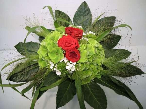 Hortensienstrauß grün-rot