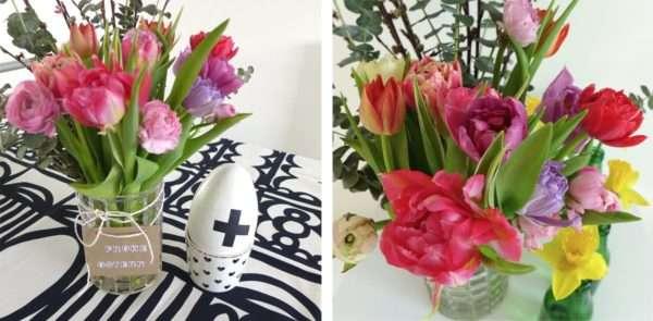 Osterarrangement mit bunten Tulpen_